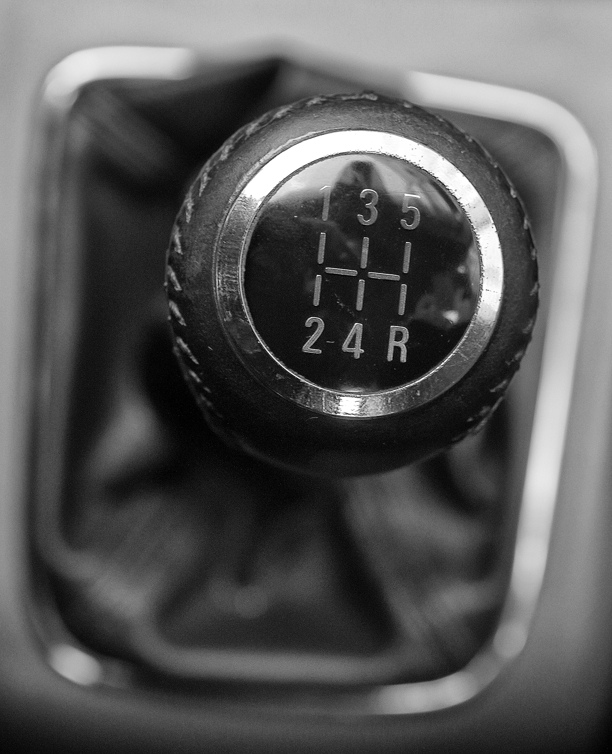A manual shift of modern car gear shifter